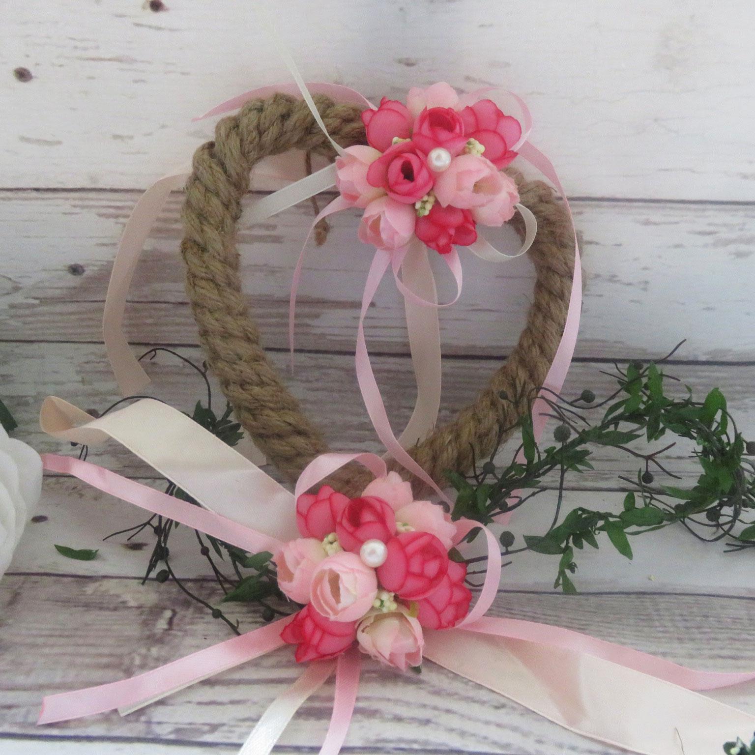 bracelet fleurs et porte alliance cœur assorti